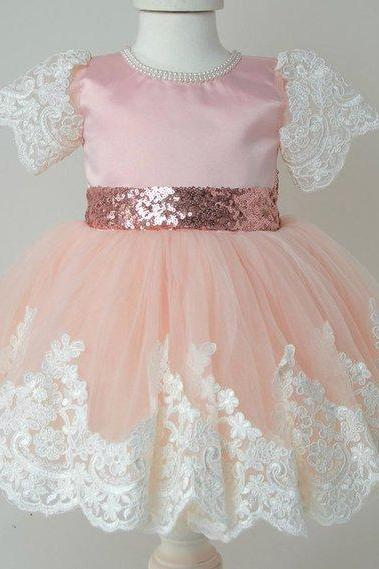 FREE SHIPPING Pink Princess Dress for Flower Girls Pink Tulle Flower Girl Outfit for Wedding