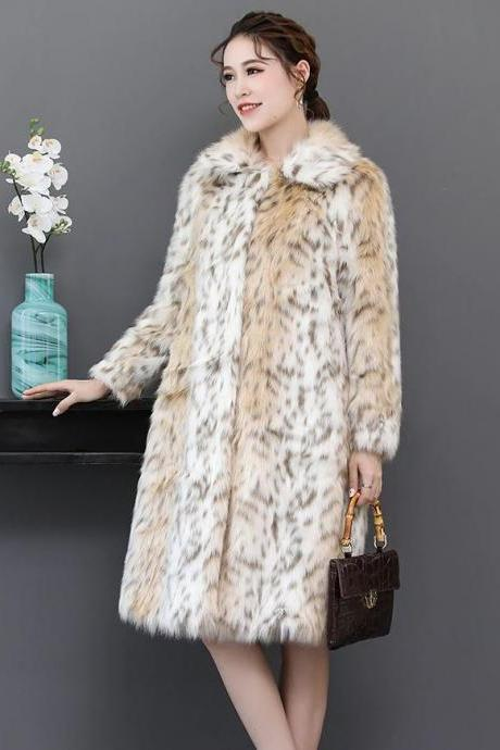 Elegant Leopard Trench Coats Warm Wool Winter Overcoats Beige Ivory Trench Coats