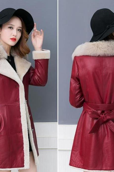 Ready to Ship Sheepskin leather Trench Coats for Women Christmas Gift to Wife or Gf Red Wool Overcoat with Large Fur Collar