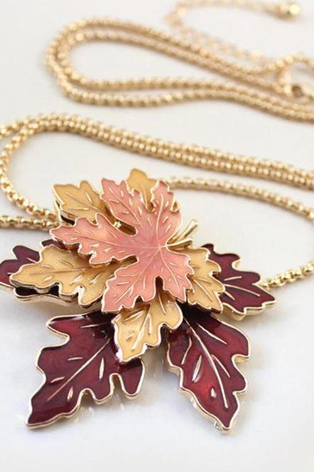 RSS Boutique Combo Maple Leaves Necklaces Matching Maple Brooch Maple Leaves Necklace with matching Maple Leaves Brooch