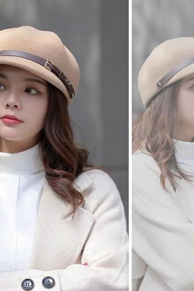 Rsslyn Beige Brown Berets for Winter Season Thick Wool Hats for Women