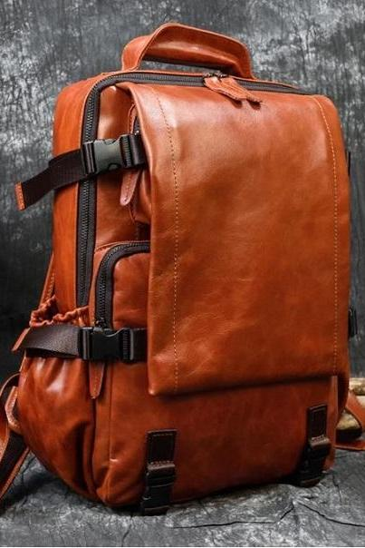 Rsslyn Original Soft Leather Backpack Traveling Bags for Men Boys Bagpack Authentic Leather Rucksack