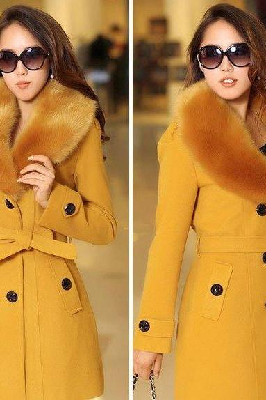 SALE! Yellow Coats for Women with Yellow Fur Collar Free Shipping Fur Collared Trench Coats Woolen Mustard Color