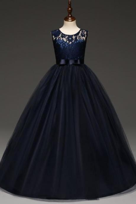Princess Quinceañeras Midnight Blue Dress for Birthday Girls Floor Length Formal Dress