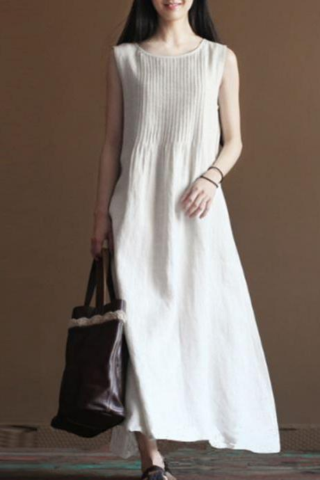 Summer Dress Plus Size Vintage White Dress Long Dresses for Women Linen Cotton
