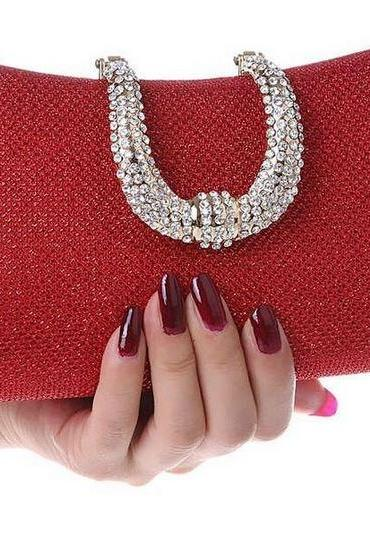 Red Purse Gold Evening Clutch Purse for Women Red Bridal Clutch