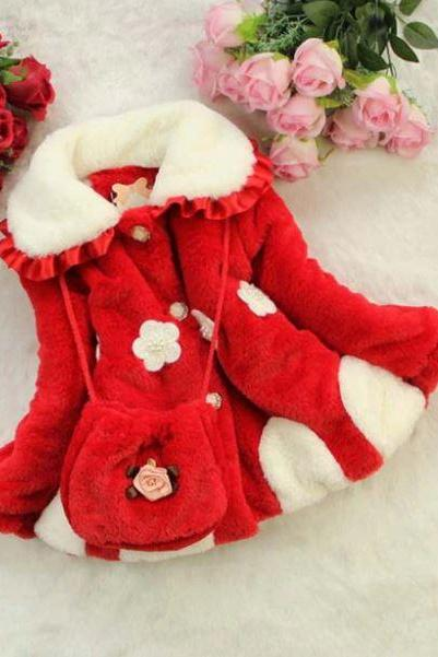 Comfortable New Jackets for Girls Winter Coats with Sling Red Purse Red Winter Jacket with Pockets