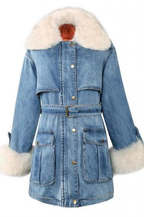 Rsslyn Durable Denim Jackets for Women Plus Size Faux Fur Collared Denim Jackets
