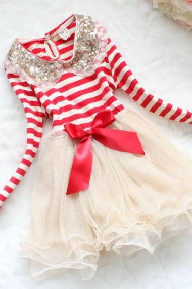 Red Candy Canes Stripes for Girls with Free Bow Headbands for Toddler Girls Golden Collar Necklace