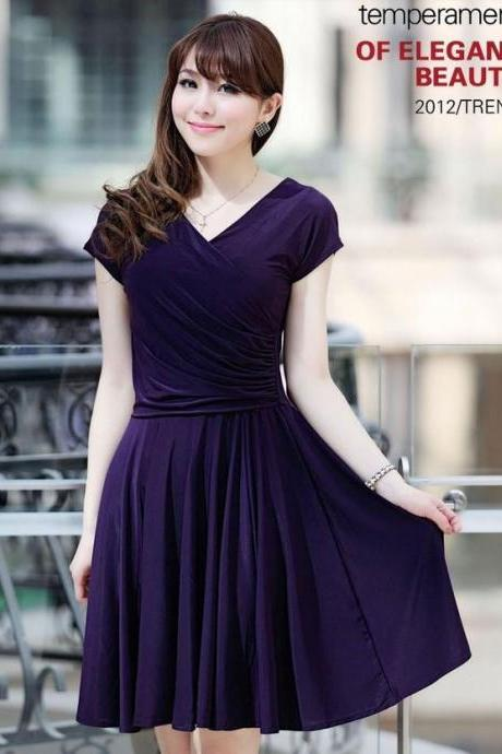 S,M,L,XL,2XL Purple Dress Knee Length