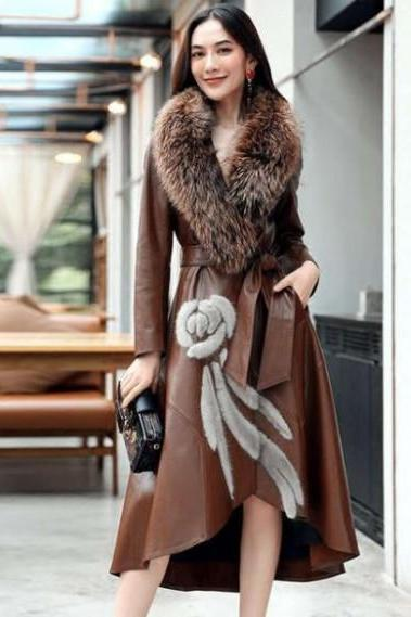 Brown Leather Trench Coats for Women Brown Winter Dress for Women Leather Overcoat for Women with FREE PURSE