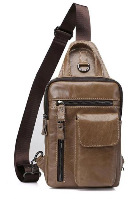 Brown Leather Chest Packs for Men Phone Holder Small Traveling Backpacks for Men and Teenage Boys