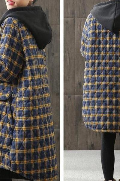 Rsslyn Plus Size High Quality Wool Blue Jacket for Women Single Breasted Plaid Jackets new Quilted Cotton Padded Winter Coats
