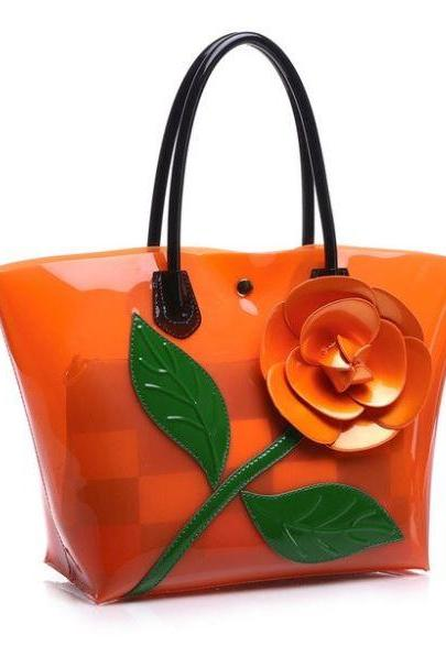 Orange Beach Bags Floral Transparent Totes PVC Plastic Totes Handbags for Women