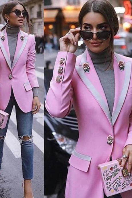 Free Shipping High Quality Pink Blazers for Women Breast Cancer Awareness Gift Super Quality