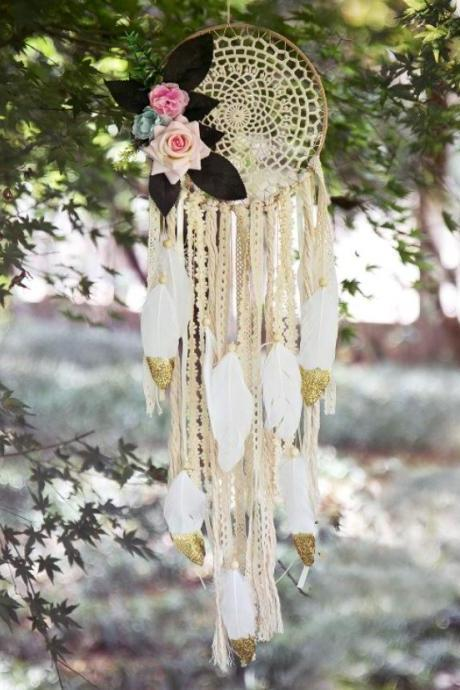 Wedding Decoration Dream Catcher with Rose Dreams Comes True Catcher Golden Hint Props for Women
