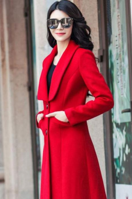 Thicker Luxury Red Long Coats-Sizes S-2XL Red Winter Wool Coats-Women Red Long Thick Overcoats