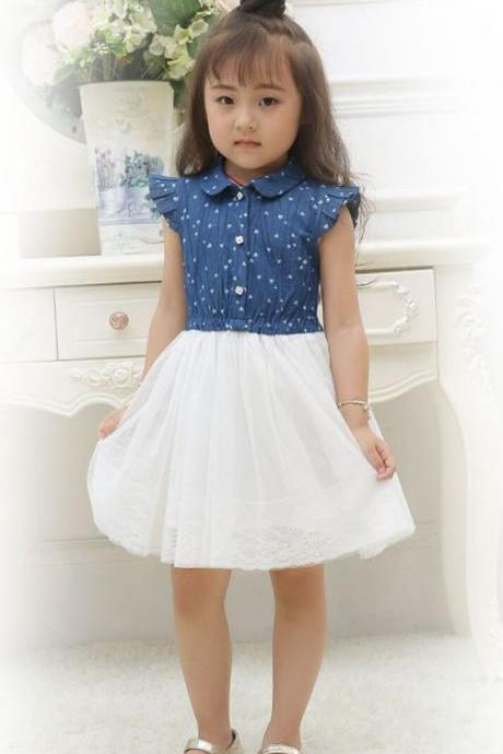 New Style Girls Denim Dress for Girls- Cowgirl Western Style Toddler Girls Denim Tutu Dress Denim Floral Dresses 2T,3T,4T,5T,6T