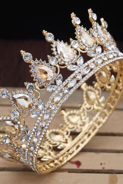 Tall Crowns for Women Beauty Pageant Show Runaway Headpiece for Brides Peach Color Tiaras