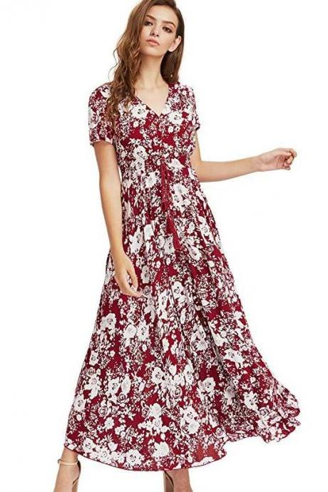 Free Shipping Fashion Burgundy Floral Dress Button Up Closing Burgundy Maxi Dress for Women FREE SHIPPING Red Dresses