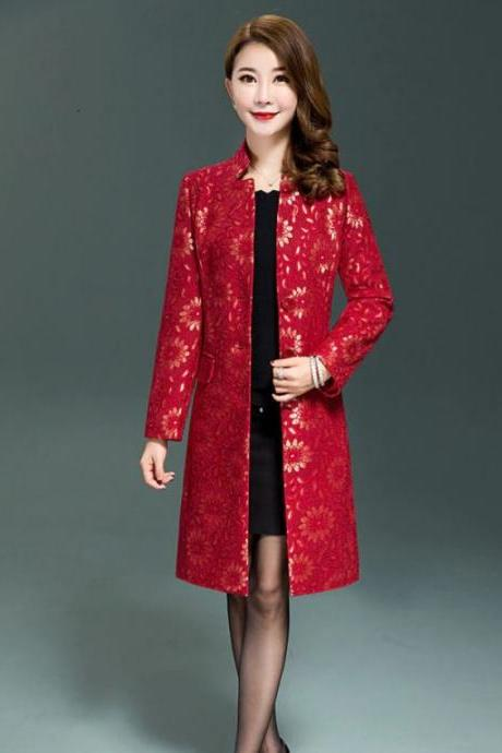 Slim Fit Pretty Red Jacquard Trench Coats Luxury Red Trench Coats with Mandarin Collar