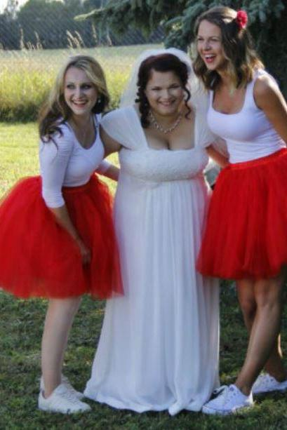 SALE Red Tutu Skirts for Women Knee Length Plus Size Women Bridesmaids Red Tutu Skirts Christmas Red Skirts