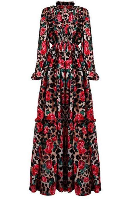 Elegant Red Maxi Dress-Empress Printed Rose Leopard Maxi Dresses for Women Red Dress Floor Length Dress,Red Long Dress