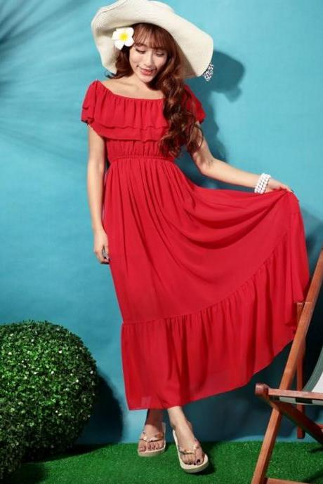 FREE NECKLACE for Size 10 Red Maxi Dress Ruffled Slash Shoulder Ready to Ship from the United States