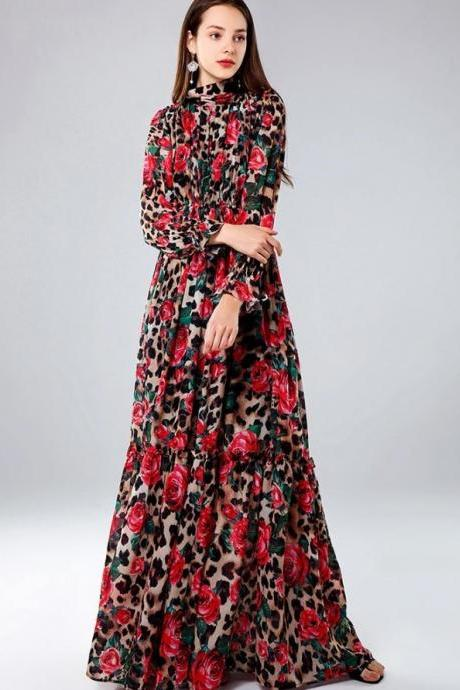Luxury Dresses Floral Leopard Dresses for Women Ready to Ship Printed Red Roses Floor Length Dress for Women