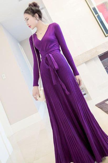 Purple Maxi Dress for Women Real Color Long Sleeve Winter Fall Maxi Dresses Thick and Warm Dresses
