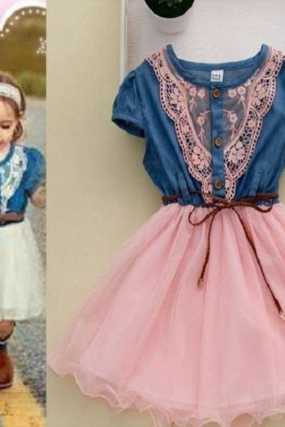 Cowgirls Denim Dresses Infant Girls Cute Pink Embroidery Lace Denim Dress for Girls