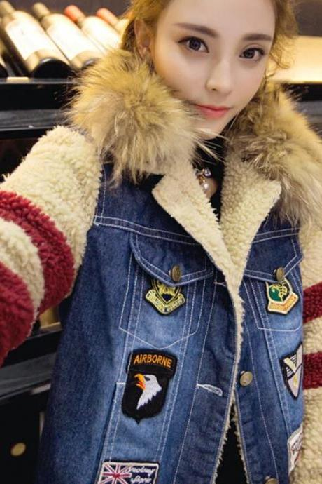 Denim Jackets for Girls American Eagle Patchwork Denim Winter Coats