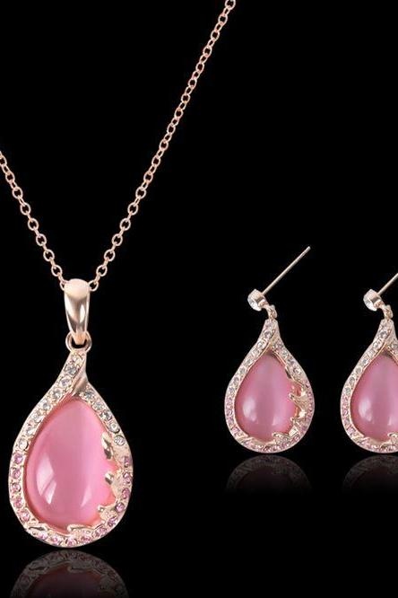 Pink Necklace Women Oval Shape Tear Drops Opal Stones Necklace and Earrings