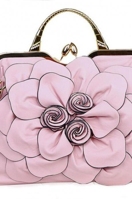 Pink Clutch Pink Shoulder bags for Women Big Rose Flower Pink Prom Purse for Teen girls and Women