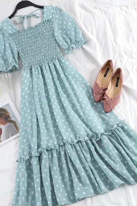 Blue Summer Dress for Junior Girls High Quality Short Sleeves Ruffled Blue Dresses Polka Dots Dress for Teenage Girls