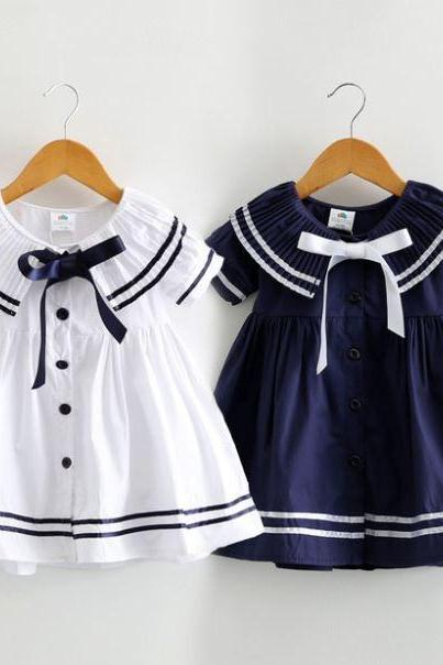 Navy Sailor Girls Dress-Props Sailor Navy Blue Dress for Toddler Girls