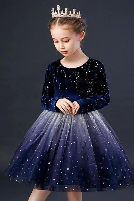 True To Size Navy Blue Dress for Singing Performance Pageant Show Princess with Golden Tiara Crown
