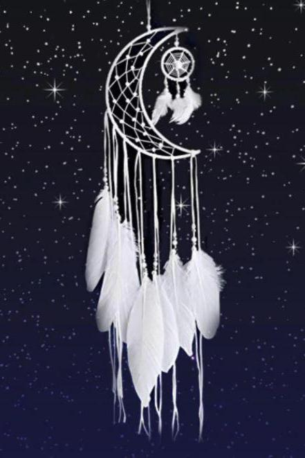 Moon Shape Dream Catchers Hanging Wall Decoration-White Dream Catchers American Indian Innovative Home Accents