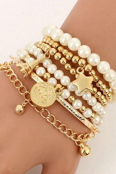 Rsslyn 6pcs/Set Multilayer Bracelets for Women Fashion Pearls Eiffel Tower Bracelets Charms Bangles