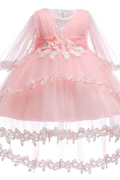 New Newborn Girls Dresses for 2020 with Attached Sheer Shawl Baby Dress Lacy Dresses