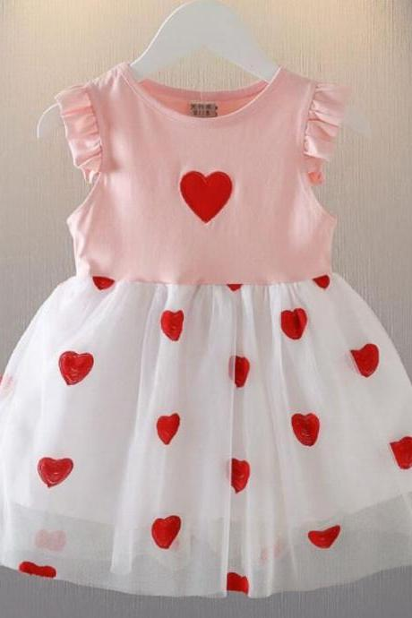 Girls Pink Dress with Hearts-Ruffled Sleeves for Summer Dresses for Infant Girls Tutu Dress-Birthday Gift from GrandMa-Pink Dress for Baby Girls