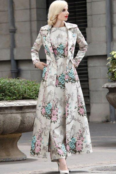 FREE DESIGNER BROOCH for Blue Trench Coats and Ivory Embroidery Floral-Luxury Coats for Women