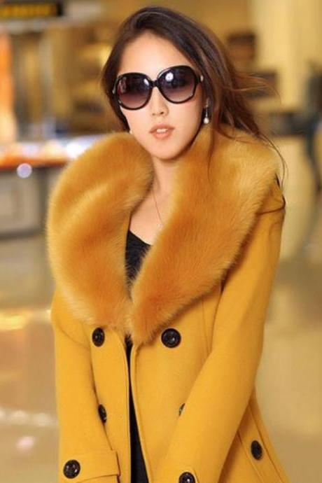 Yellow Coat Jacket with Fox Fur Winter Fox Fur Jacket- Large Luxurious Collar Gorgeous Fox Fur Winter Jacket