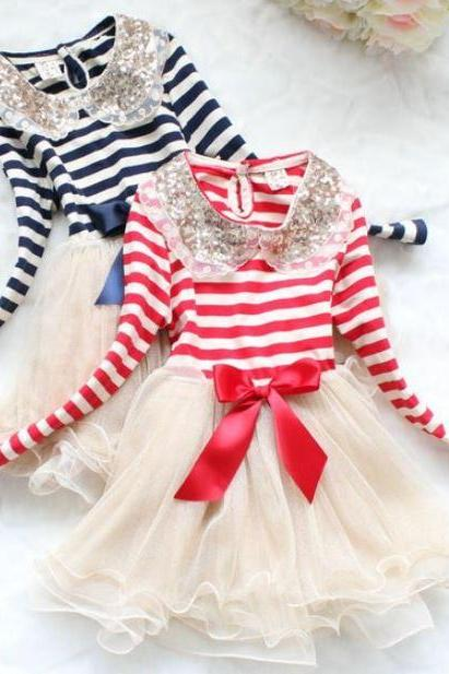 Free Shipping Stripe Dresses for Christmas 9-12mos,12-24mos,2t,3t Girls Pageant Dress with FREE BOW HEADBAND