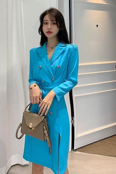Lovely Women's Clothing Medium Size True To Size Women's Long Turquoise Blue Trench Coats for Women