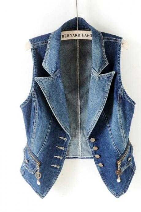 Slim Fit Denim Vest for Women Pointy Collar Wicked Denim Jackets for Plus Size Women Free Shipping Vests