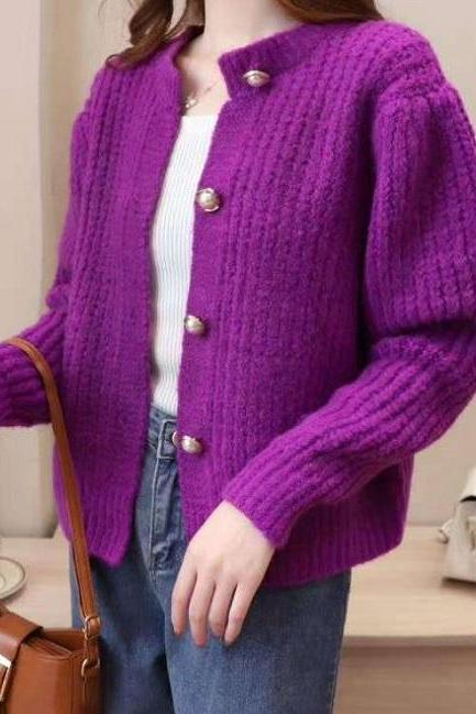 Rsslyn Vibrant Magenta Sweaters for Women Fashion Loose Cardigan Purple Sweaters Button Up Tees for Women Cropped Purple Sweaters