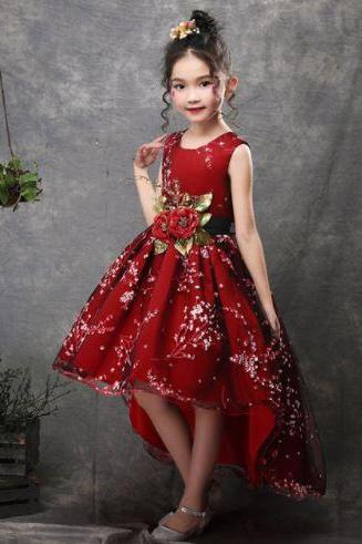 Red Dress Christmas Dress for Girls Girls Christmas Tailed Ballgown Dress Pageant Red Christmas Dress for Toddler Girls
