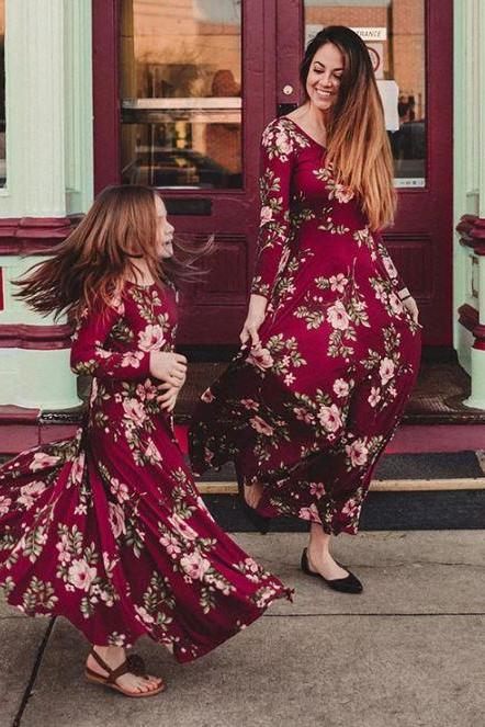 Burgundy Maxi Dresses for Mother and Daughter matching Set Floral Dresses Red Maxi Dresses