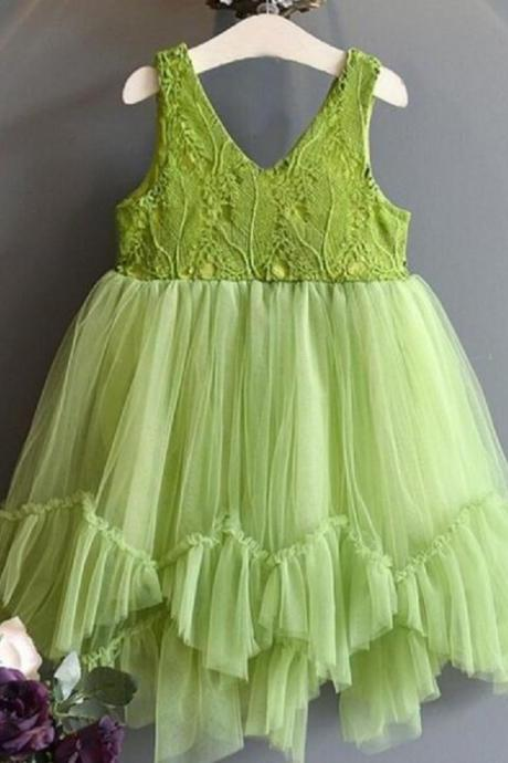 Green Dress for Girls Formal Wear Tutu Ready for Shipping Sleeveless Dress Embroidery lacy Fuller Tulle